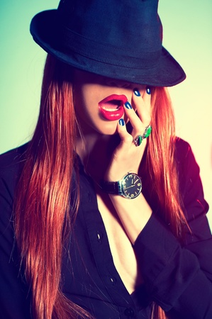 Fashion portrait of sexy woman in Hat Stock Photo - 12779841