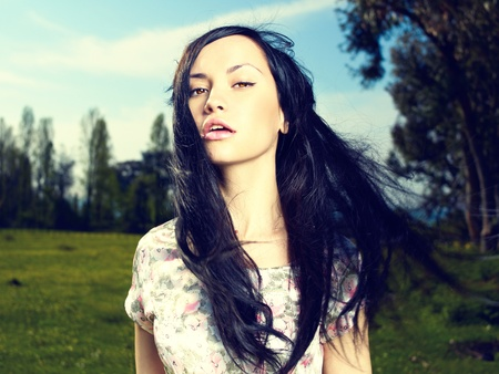 Portrait of a beautiful lady in a flower meadow Stock Photo - 12949674