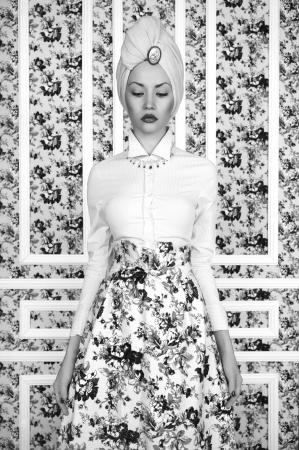 Fashion art photo elegant lady on floral background Stock Photo - 20992624