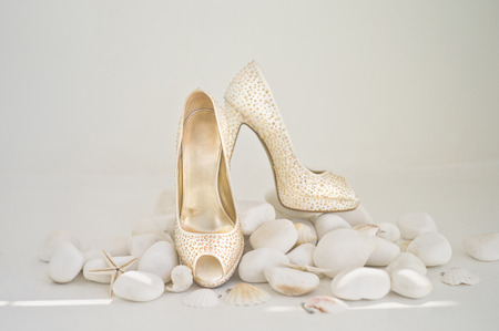 foretaste: Still life with a wedding shoes. Fashion art photo