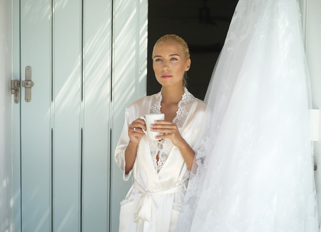 foretaste: Beautiful bride looking for a dress. Fashion art photo
