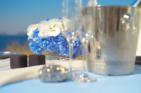 wedding accessories: Wedding accessories of white and blue colors