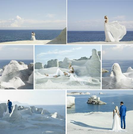 union beach: Wedding collage. Fashion art photo of bride and groom on the seashore Stock Photo