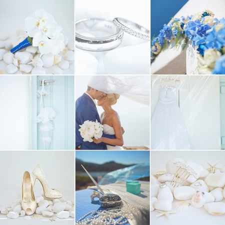 wedding accessories: Collage of wedding details of white and blue colors