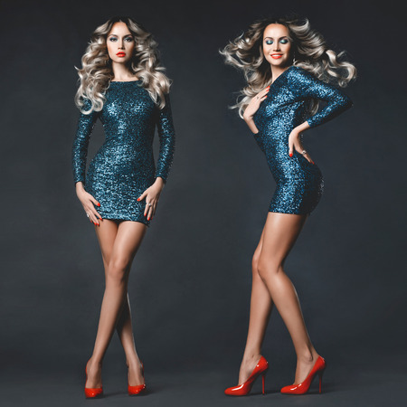 Fashion photo of young gorgeous woman in sequined dress Standard-Bild