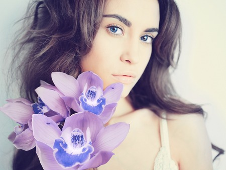 Fashion art portrait of beautiful lady with delicate flowers Stock fotó