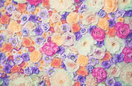 Art photo of wall of flowers. Wedding decor