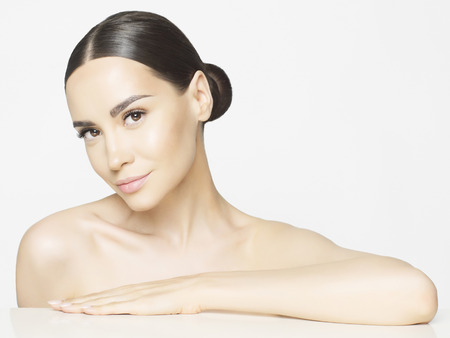 beautiful nude women: Studio portrait of beautiful young woman with perfect skin. Beauty and care. Spa salon Stock Photo
