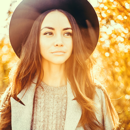 young lady: Outdoor atmospheric fashion photo of young beautiful lady in autumn landscape