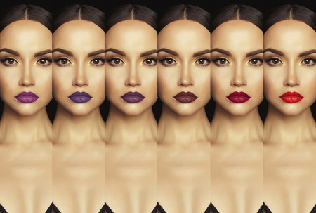 Fashion collage with close-up shot of beautiful woman with colorful lipstick. Collection lipstick. Perfect lips makeup. Stock Photo