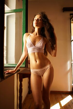 Lifestyle art photo of beautiful sensual brunette in lace lingerie by the window. Home interior. Beautiful morning 免版税图像