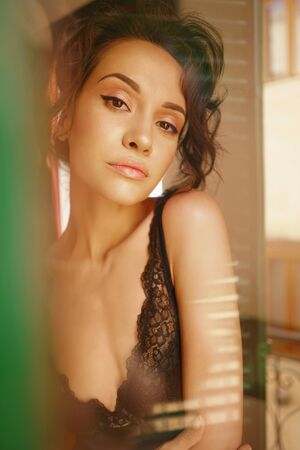 Lifestyle art photo of beautiful sensual brunette in lace lingerie by the window. Home interior. Beautiful morning Imagens