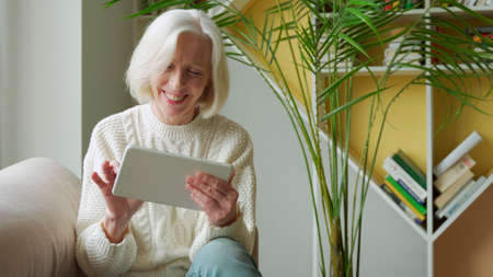 Elderly woman using a computer tablet, looking at the screen, elderly older woman with gray hair shopping online using apps, sitting on the couch