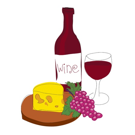 bottle of wine: Red wine  Illustration
