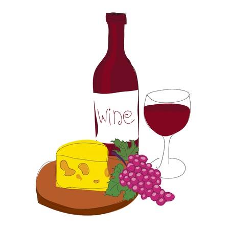 red wine bottle: Vino tinto Vectores