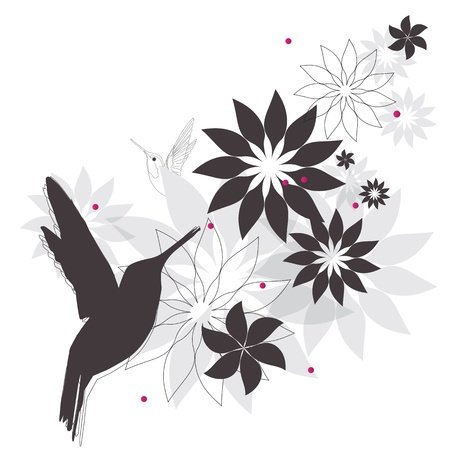 hummingbird and flowers Stock Vector - 12854877