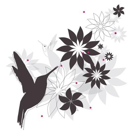 hummingbird and flowers Stock Vector - 12854877