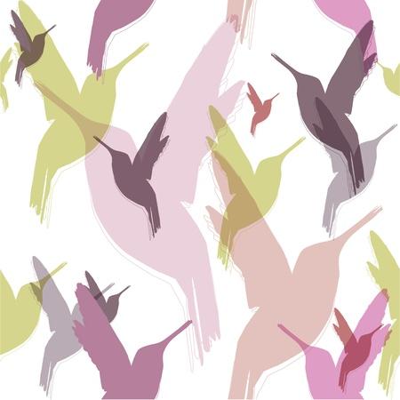 multiplying: seamless pattern of hummingbirds Illustration