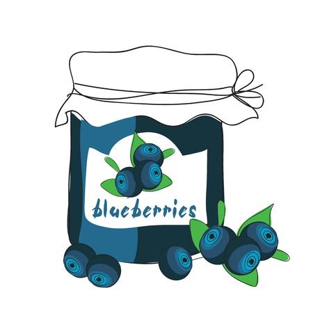 jam jar: Blueberry jam Illustration