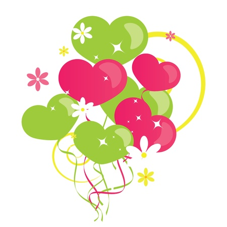 pink ribbons: Background heart balloons
