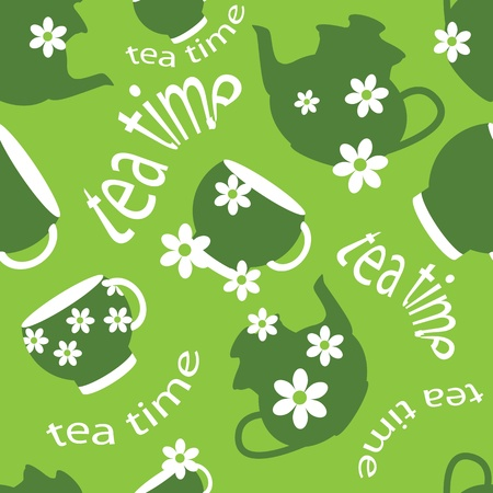 tea time: tea time pattern Illustration