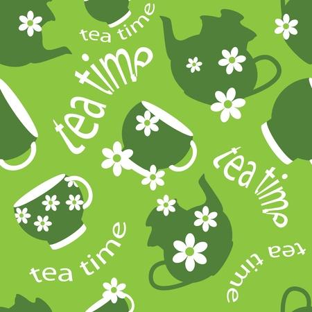 chamomile tea: tea time pattern Illustration