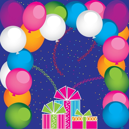 Vector gifts and balloons Illustration