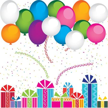 Vector regalos y globos