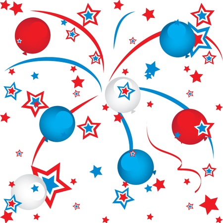 fourth july: fireworks and balloons
