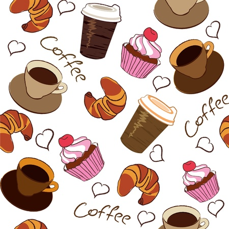 croissant: seamless pattern of a cup of coffee Illustration