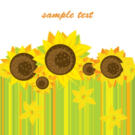 vector background of bright sunflowers Vector