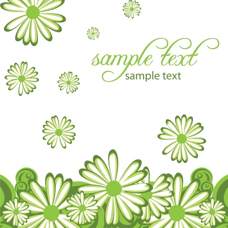 green flower: abstract background with flowers camomile Illustration