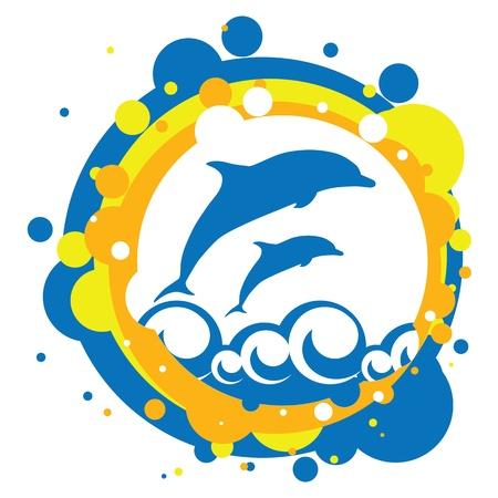 векторная иллюстрация дельфинов в море
