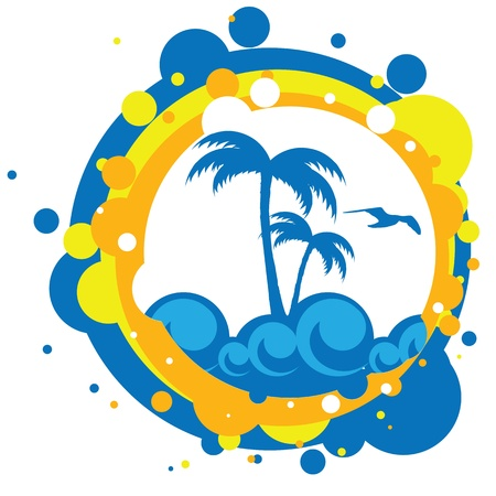 white wave: vector illustration of sea and palm trees