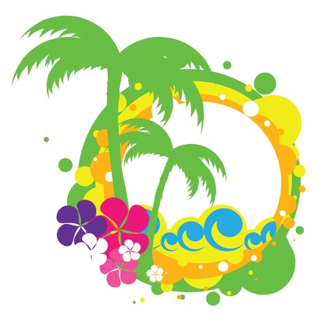 vector illustration of sea and palm trees Vector