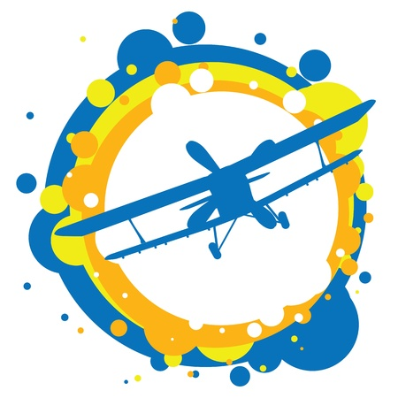 airplane travel: aircraft flying in the sky Illustration