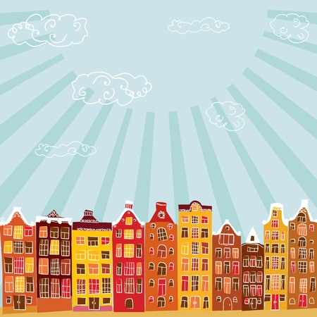 yellow landscape: vector city Illustration