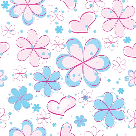 girlish: vector seamless pattern with flowers