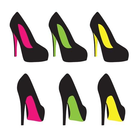 tacones negros: zapatos de vectores
