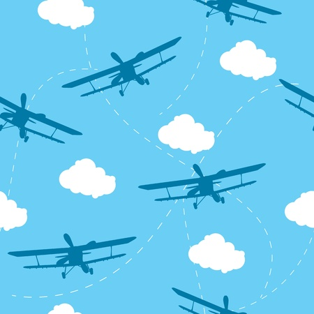 seamless sky: Seamless vector pattern of the plane Illustration