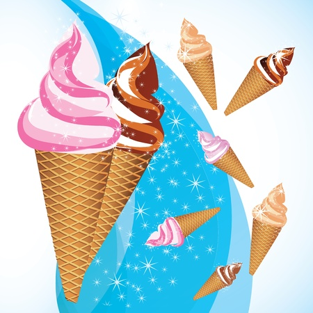snow cone: vector ice cream on an abstract background
