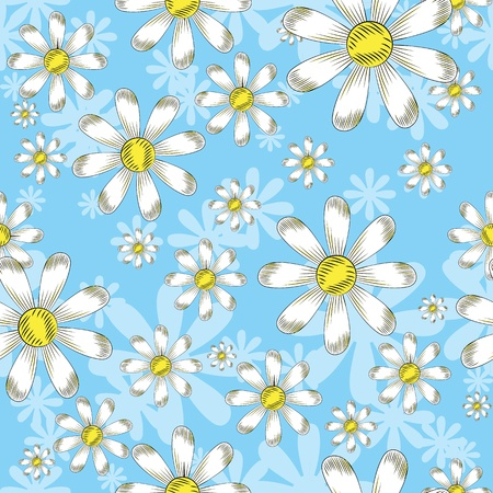 seamless pattern with flowers daisies Vector