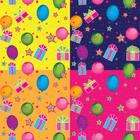 seamless pattern with holiday gifts and balloons