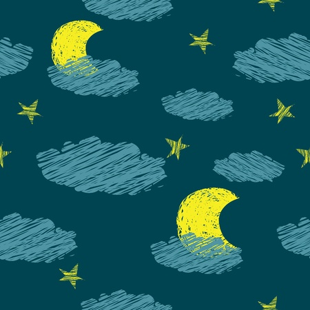 star cartoon: seamless pattern of the night sky the stars the moon