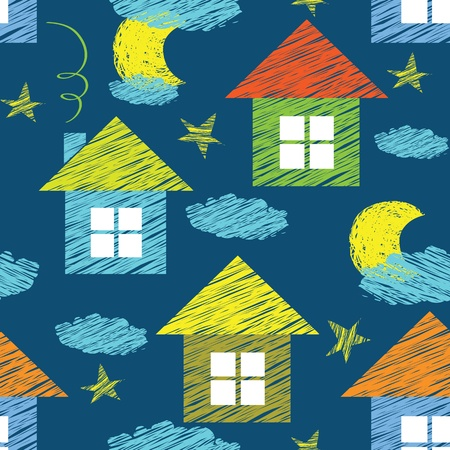 drawing on the fabric: vector seamless pattern with houses and clouds Illustration