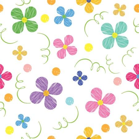 blumen cartoon: Nahtlose Muster mit Blumen, gemalt