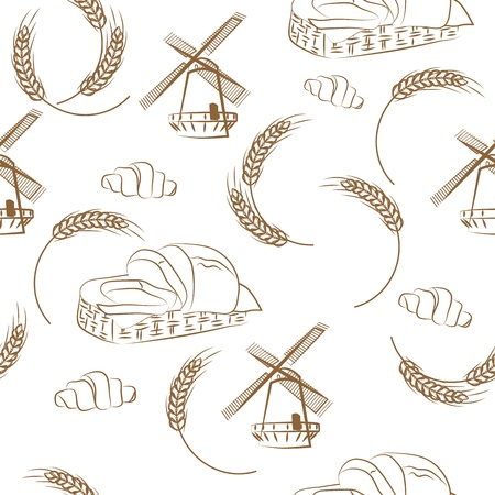 seamless pattern of grain mill, wheat Vector