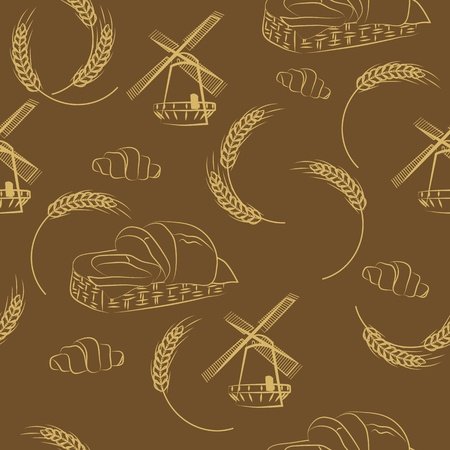 agriculture wallpaper: seamless pattern of grain mill, wheat Illustration