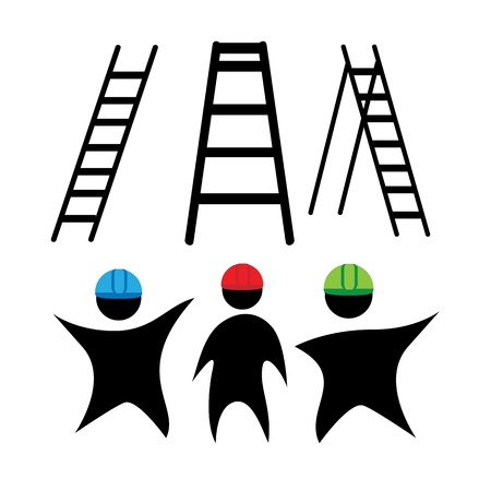 construction team: clipart ladders and working