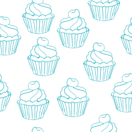 seamless pattern with cake Illustration